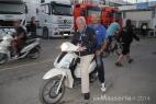 Gianpaolo Cassese in sella con Giampiero Sacchi, team manager di Iodaracing