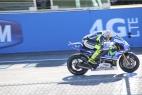 Valentino Rossi sulla linea di traguardo del MotoGP